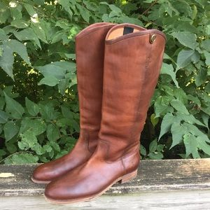 Frye Womens Leather Knee High Cognac Extended Boot